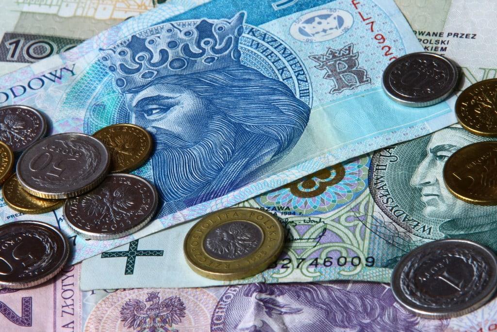 Gospodarka w kryzysie - zasady udzielania wsparcia ze środków pomocowych - pieniądze w banknotach i monetach leżą na stole.