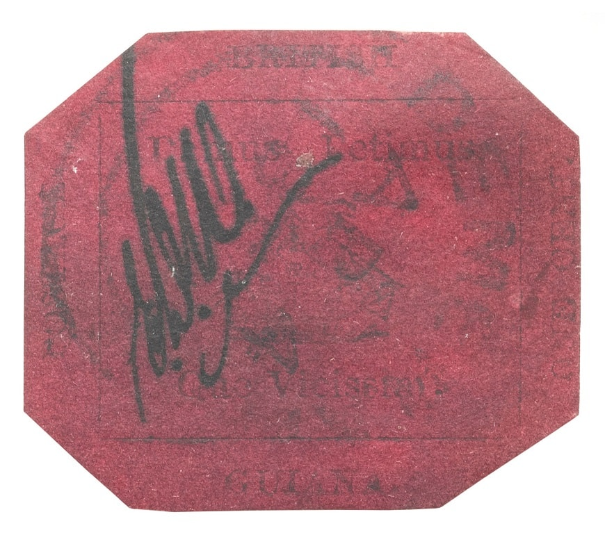 British guiana 1c magenta z 1856 r. cena, źródło Wikipedia