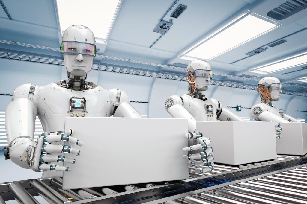 Przyszłość przemysłu 4.0 - projekt Universities of the Future. Zapraszamy na konferencje online! - trzy białe roboty trzymają w rekach pudełka.