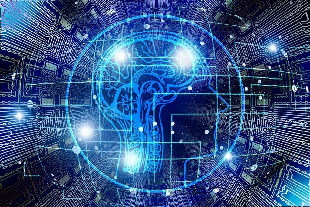 Sztuczna inteligencja wspiera infolinię dla przedsiębiorców  -prześwietlony mózg człowieka na niebieskim tle, obraz sztucznej inteligencji