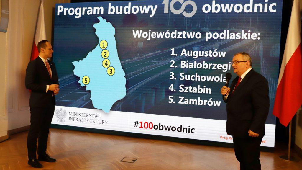 100 obwodnic  - Minister Andrzej Adamczyk i wiceminister Rafał Weber prezentują program