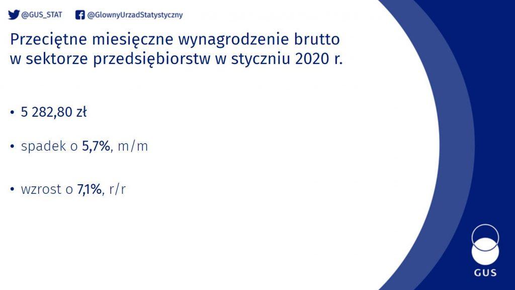 GUS - wynagrodzenie 01.2020. - grafika z danymi