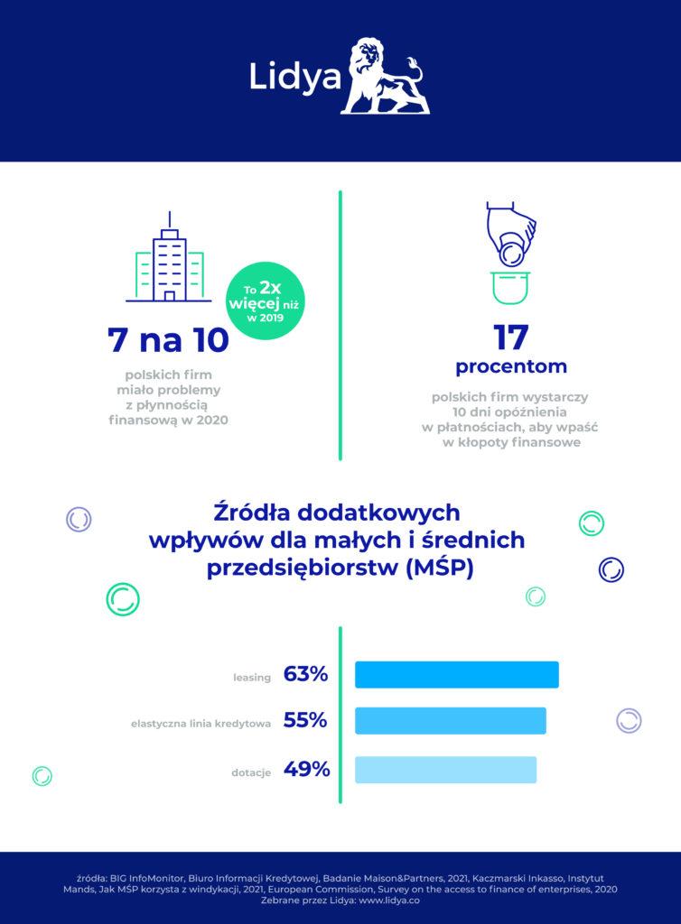 Jakie formy finansowania zapewnią sukces biznesowy MŚP? - infografika , źródła dodatkowych wpływów dla MŚP.