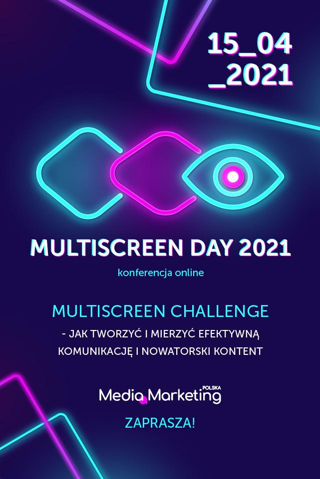 Multiscreen Challenge - jak tworzyć i mierzyć efektywną komunikację i nowatorski kontent - inforgrafika na granatowym tle, konferencja.