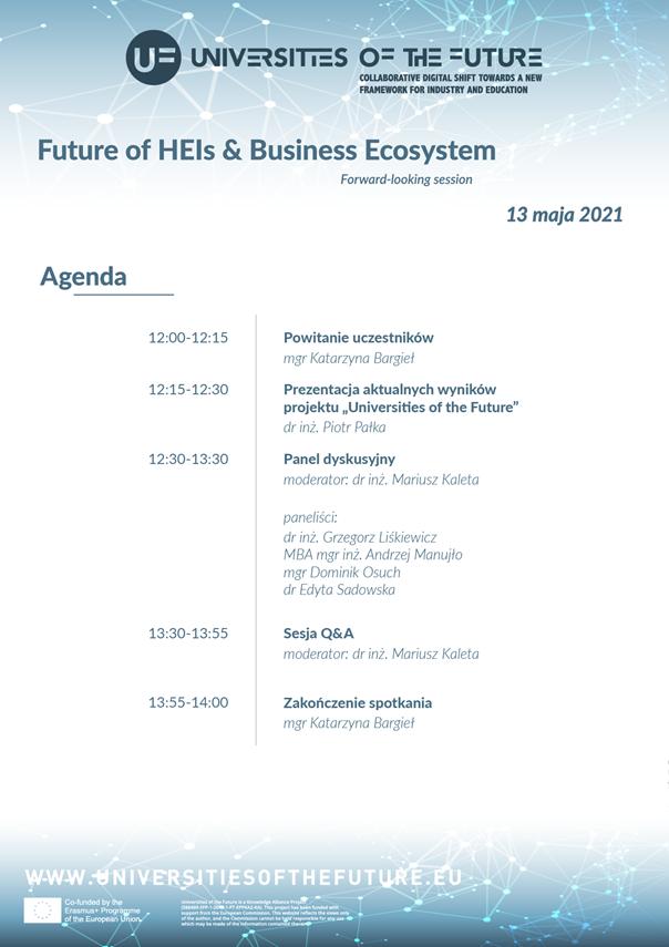 Przemysł 4.0 - panel dyskusyjny nt. przyszłości ekosystemu biznesu i uczelni wyższych -  agenda wydarzenia Future of HEIs&Business Ecosystem