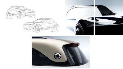 Nowy design smarta zachwyca - zbliżenie na dach auta i maskę.