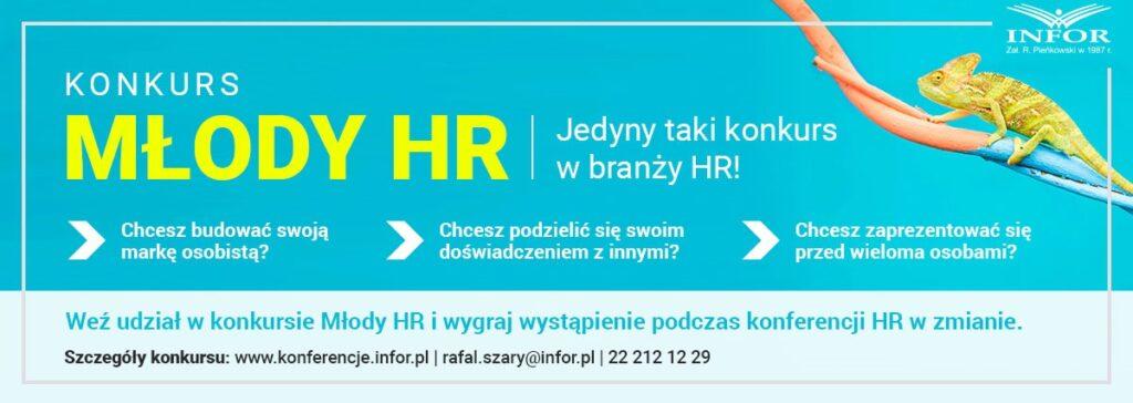 Marzysz o pracy rekrutera? Weź udział w konkursie Młody HR! - niebiesko źólty baner z napisami.