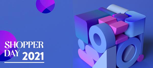 Konferencja Shopper Day 2021 już 26 października - zapisz się dziś! - baner niebiesko-różowy do konferencji Shopper Day 2021.